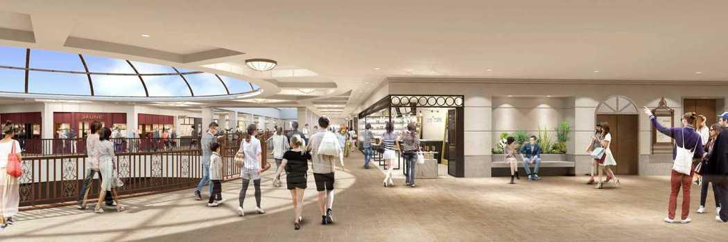 麗寶Outlet Mall二期 室內如「艾曼紐二世迴廊」大型挑高拱廊購物空間示意...