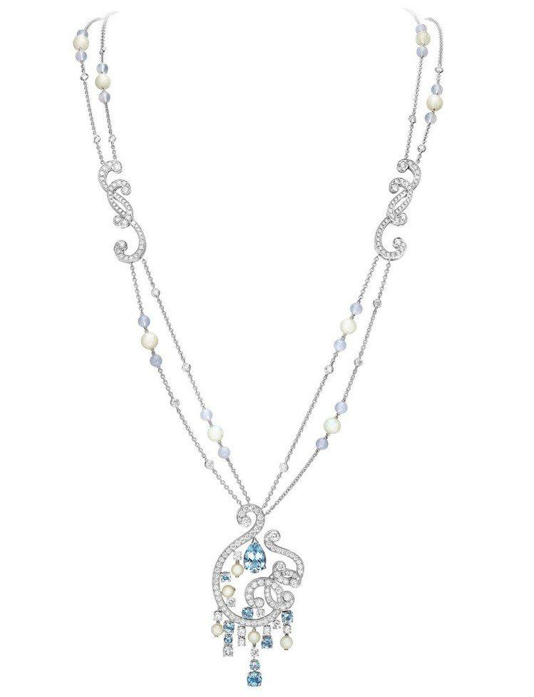 潔西卡絲斯坦配戴的 Sunlight Journey 系列高級珠寶項鍊,18K白...