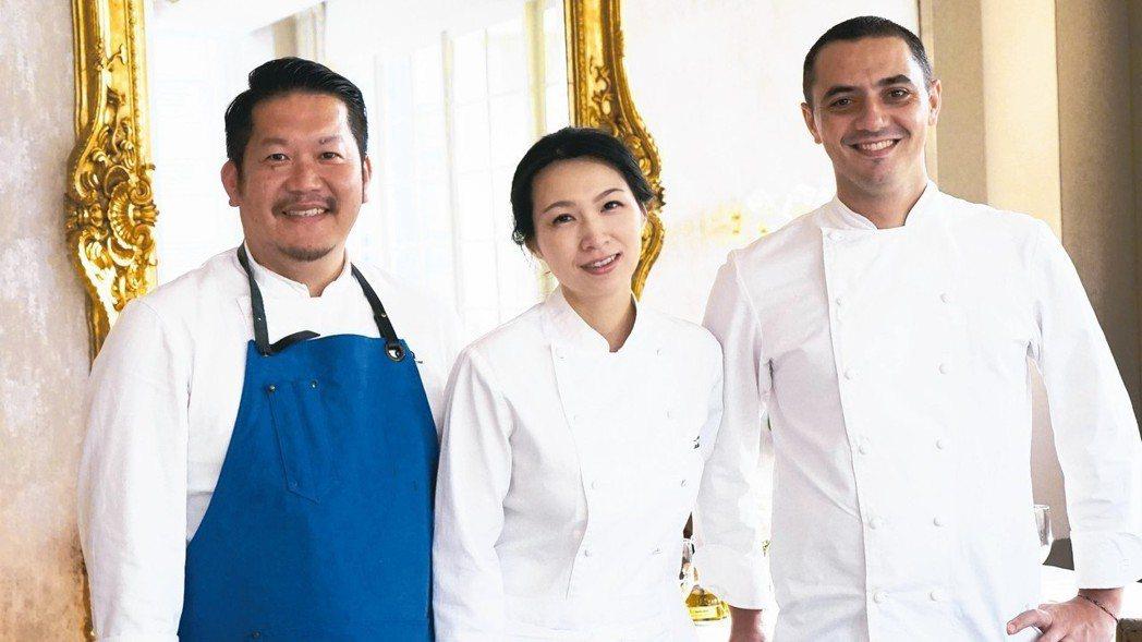 左起福岡名廚福山剛、亞洲最佳女主廚陳嵐舒、新加坡名廚Julien Royer。 ...