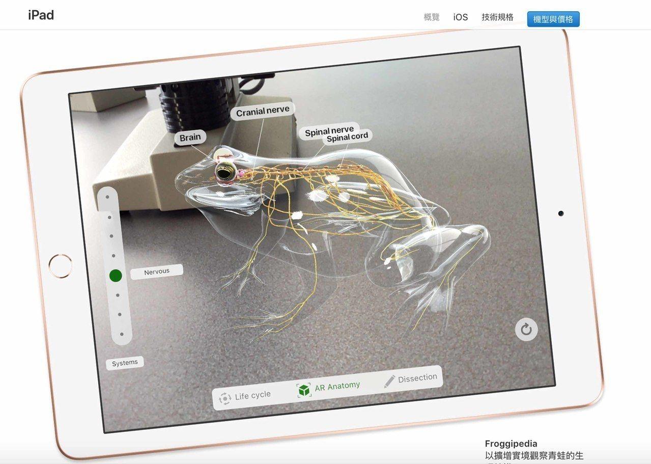 蘋果推出螢幕9.7吋的新iPad,搭配AR功能可讓學生解剖青蛙。 中央社(取自台...