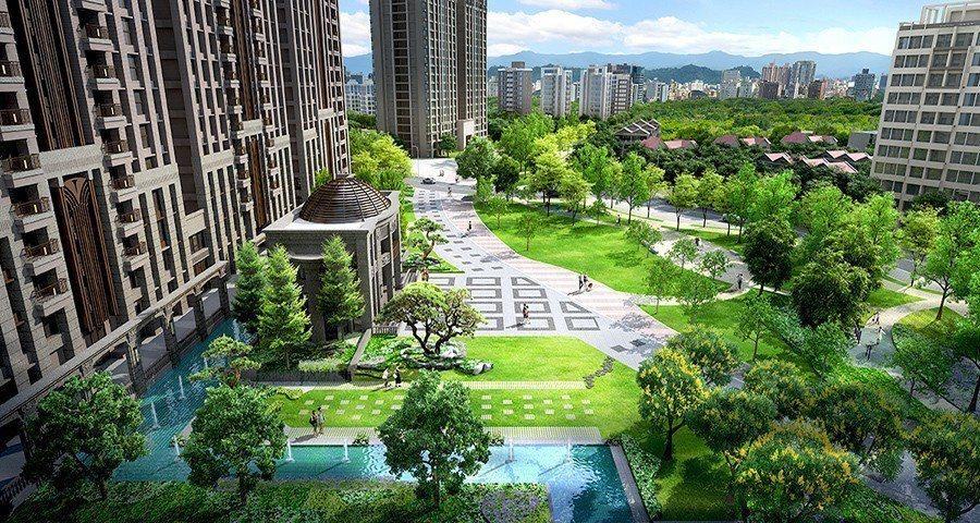 「合陽天擎」規劃全齡化社區,導入大量綠意植栽,營造愜意生活感 圖/合陽天擎 提供