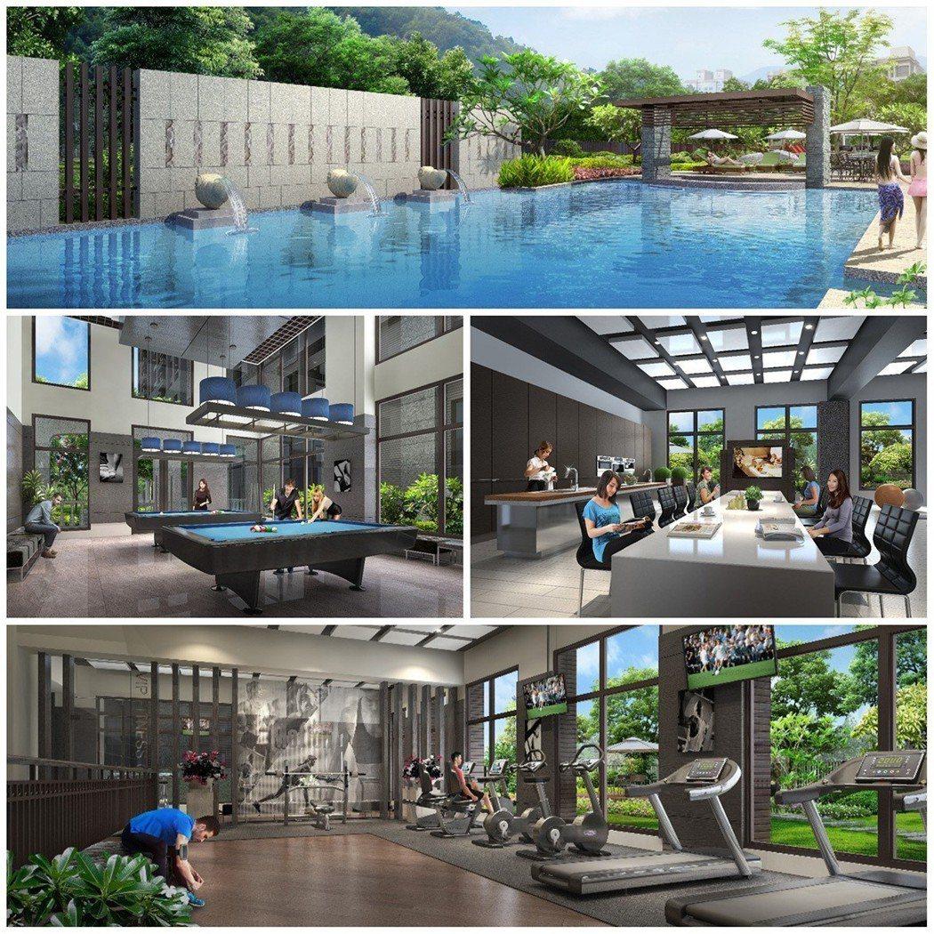 「合陽天擎」規畫豐富多元休閒設施,讓住戶在家猶如渡假般享受 (3D示意圖) 圖/...