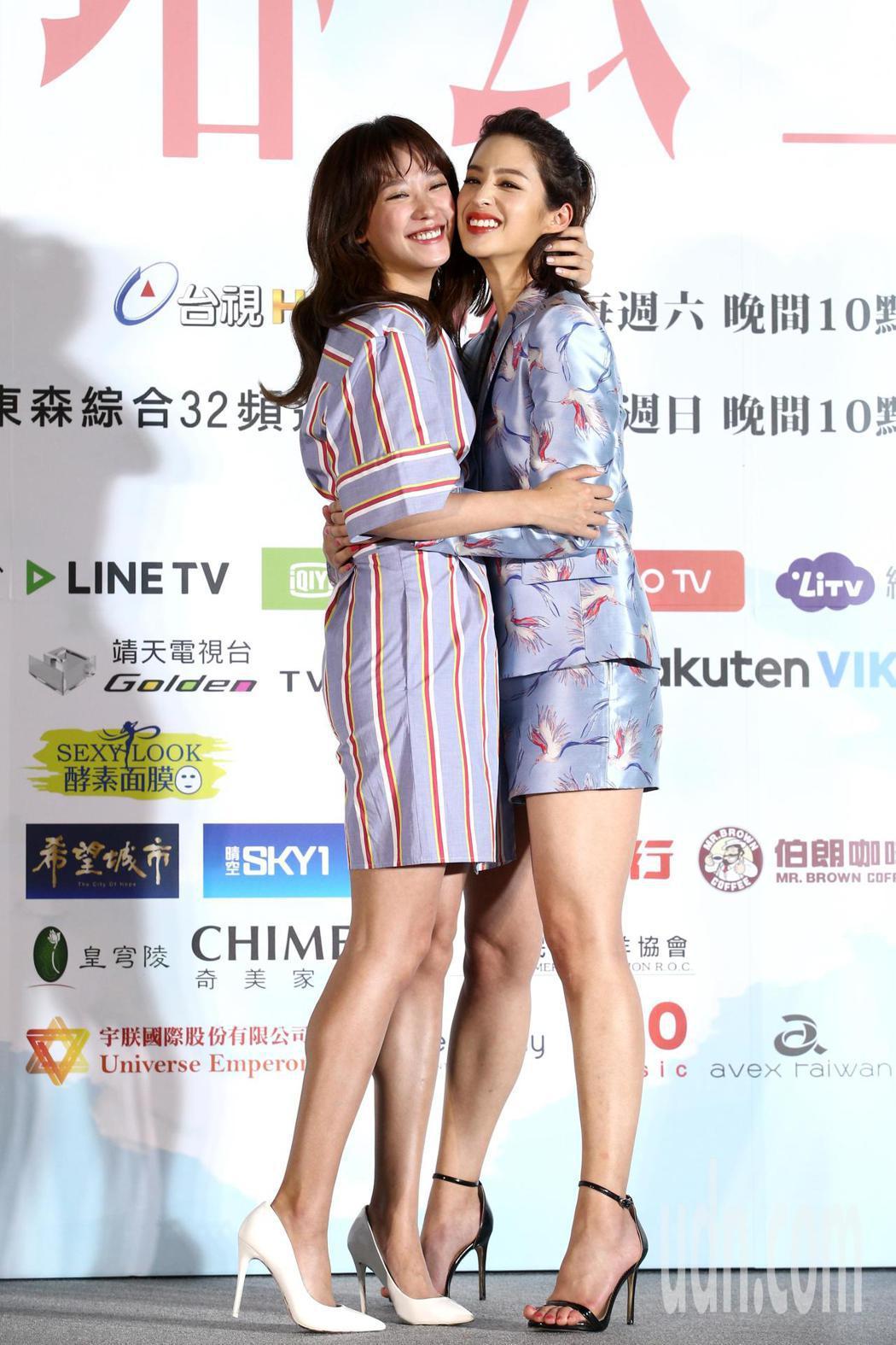 孟耿如(左)與莫允雯(右)等演員下午出席高塔公主試片會,大家分享拍片時相處的點滴...