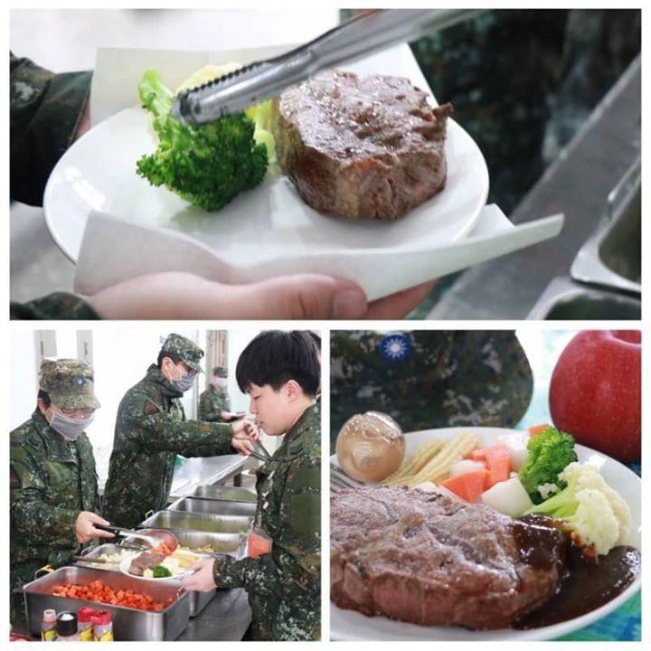陸軍司令部臉書粉絲專頁今天貼出一幀圖文,描述陸軍584旅假日留守官兵的伙食,不但...
