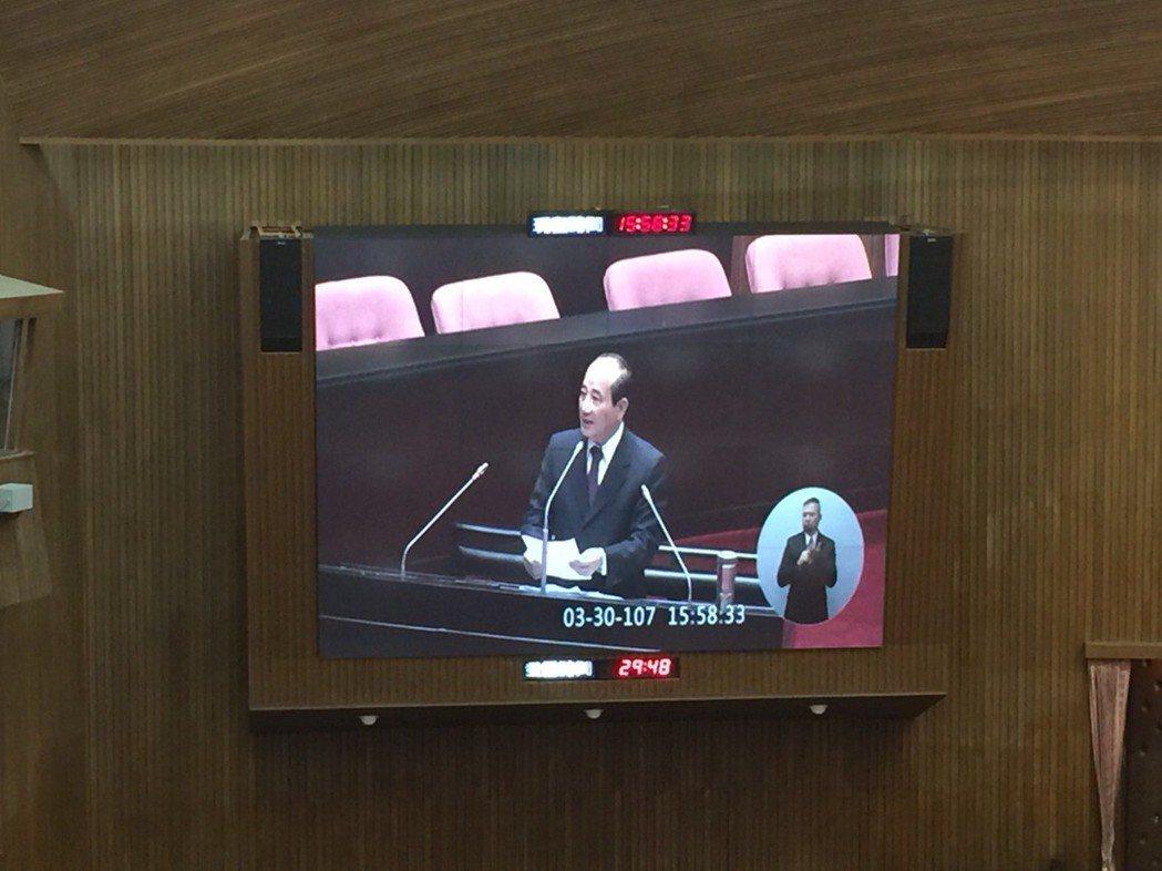 立法院前院長、國民黨立委王金平,今下午依慣例擔任本會期最後一位質詢者。記者鄭媁/...