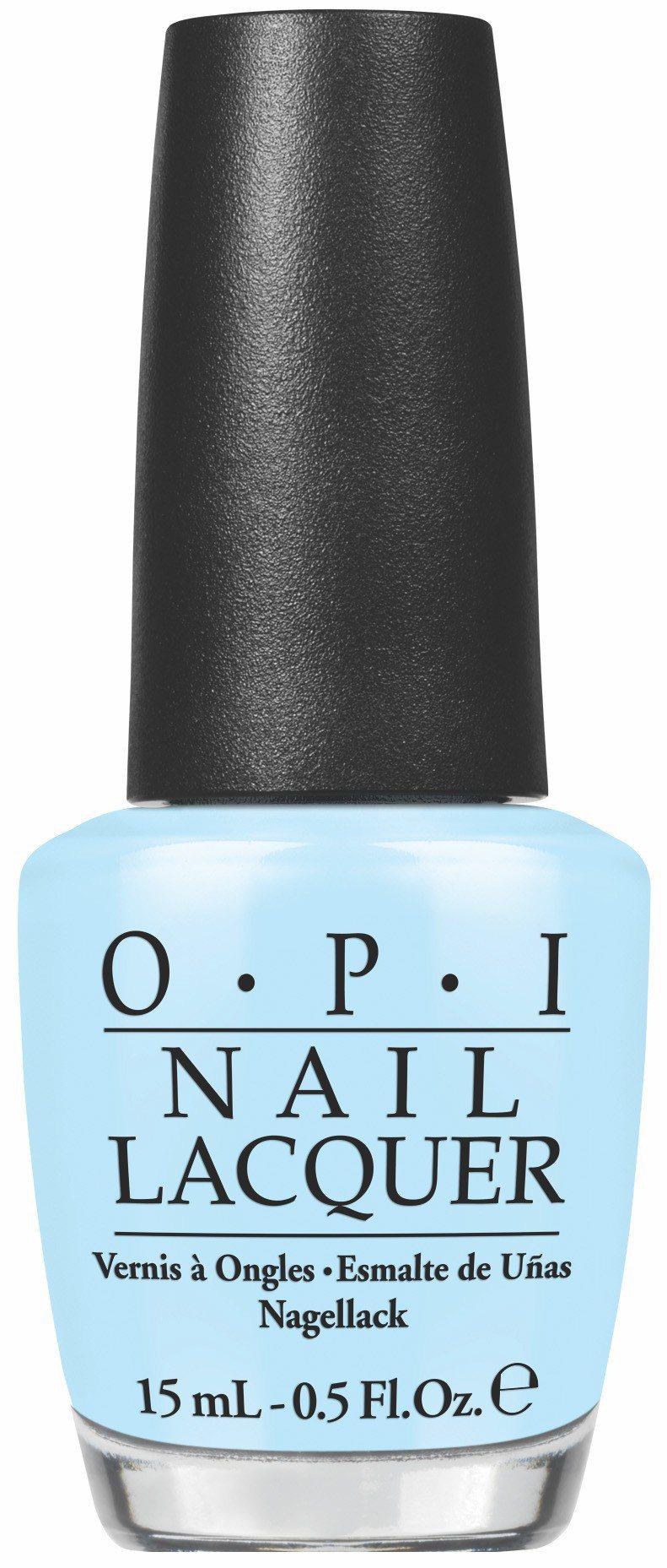 OPI推薦4款春夏熱銷的藍綠色系指彩,圖為#NLT75粉藍小男孩。圖/OPI提供