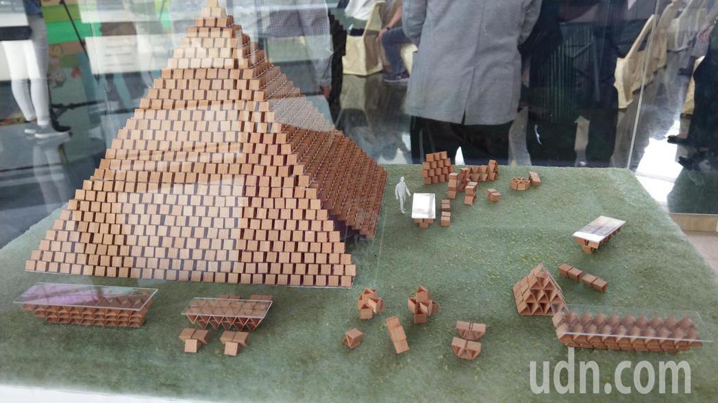 台開公司邀請2020東京奧運主場館建築師隈研吾,設計以1450個三角積木堆疊搭建...