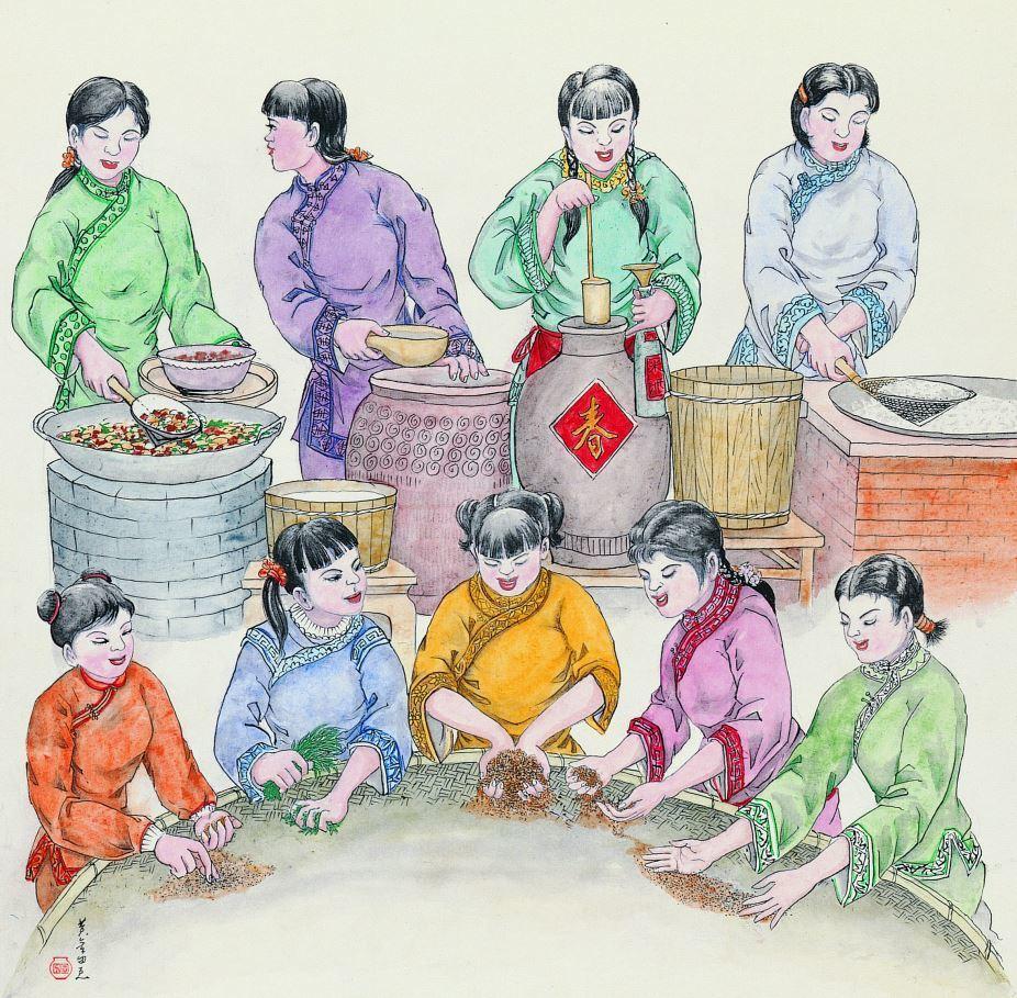 過去農村社會的婦女們廚房工作的樣貌。有人篩揀穀物、有人似將灶爐裡的米飯舀起;有人...