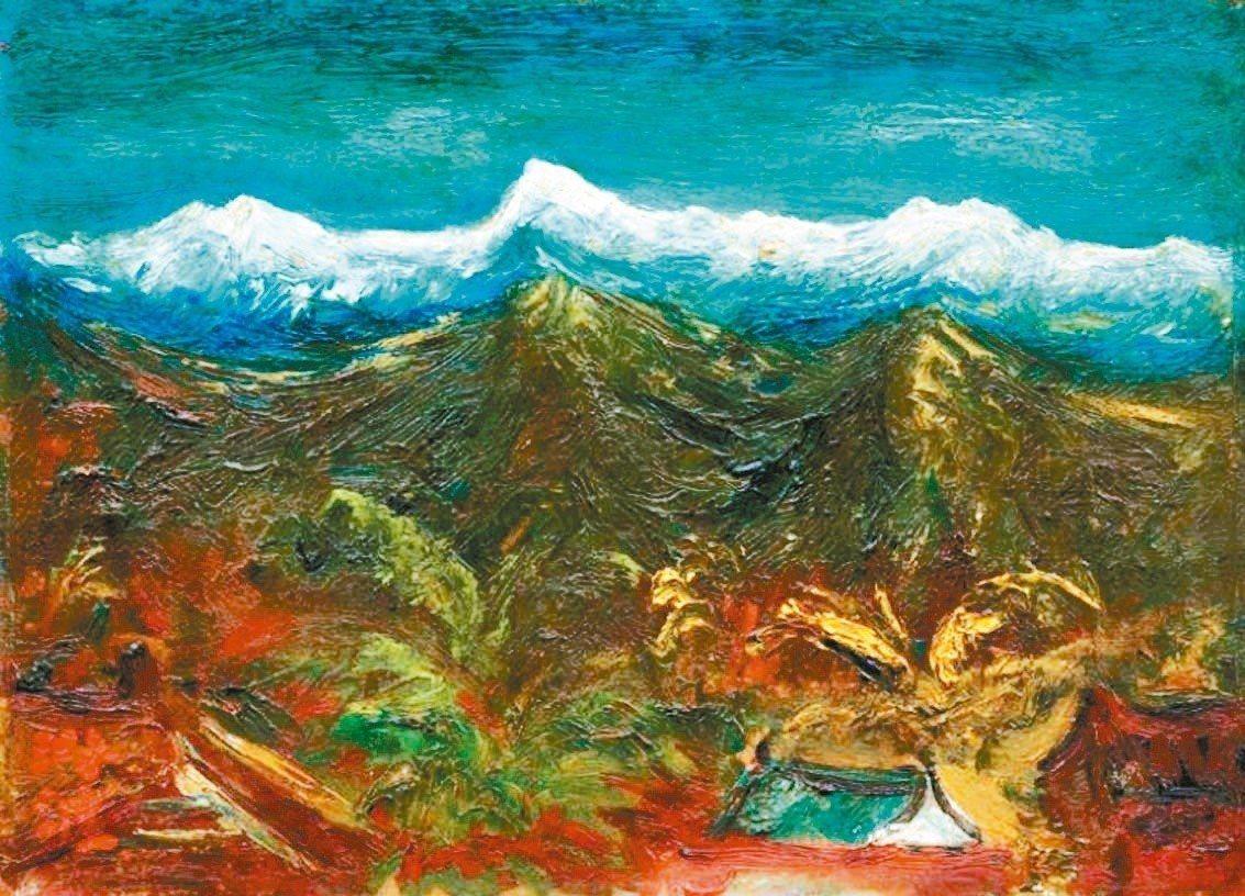 畫家陳澄波的最後遺作「玉山積雪」。圖/取自2017梅樹月手冊