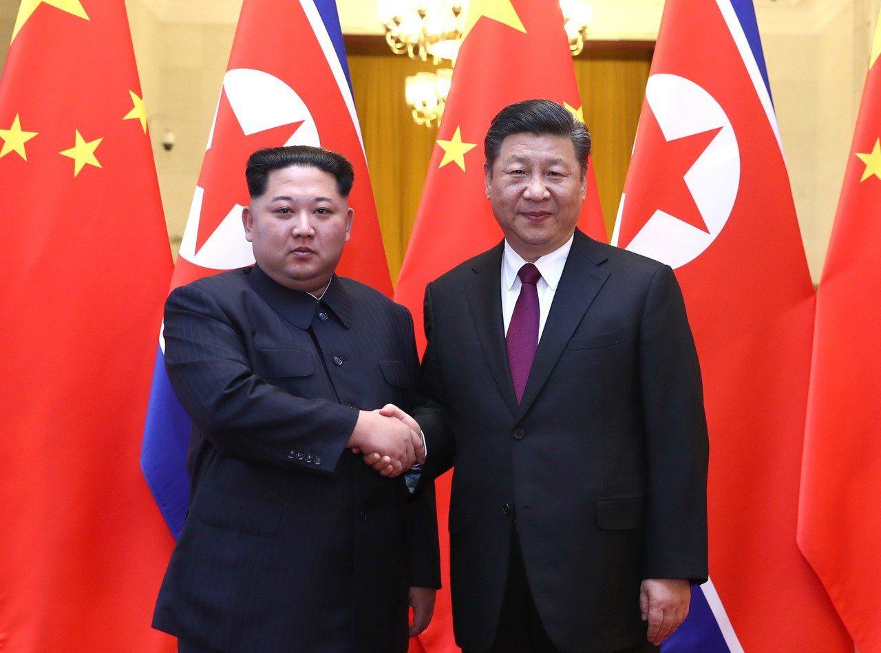 習近平(右)與金正恩(左)會談。新華社