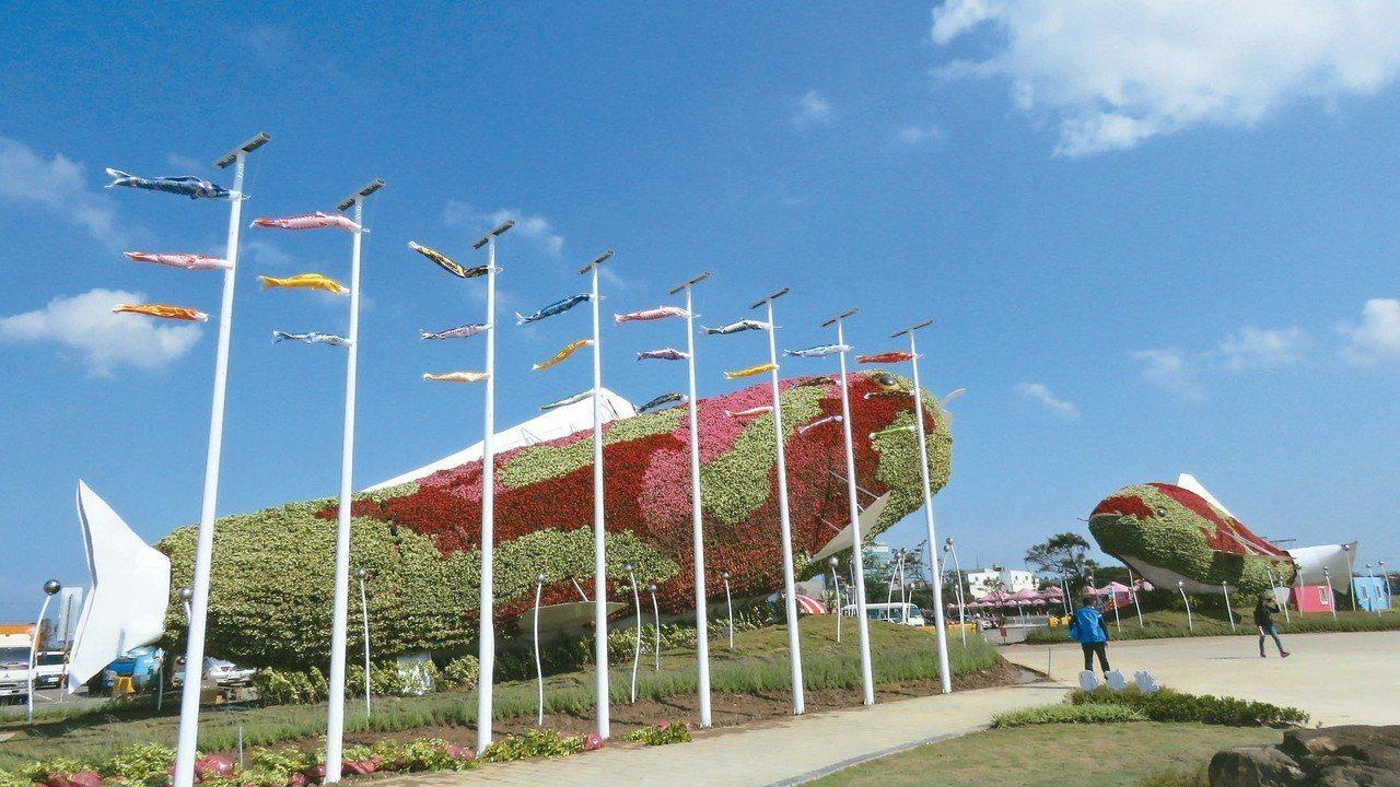 桃園農業博覽會新屋基地展場入口處,一對8公尺高錦鯉綠雕裝置吸睛。 記者張弘昌/攝...