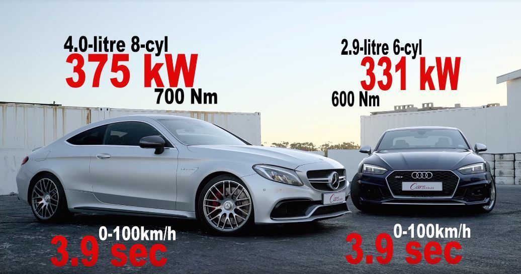 C63S Coupe vs. RS5 Coupe。 截自Cars.co.za影片