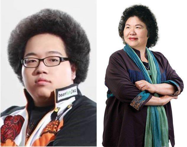 左:電競選手─牛排、右:高雄市市長─陳菊
