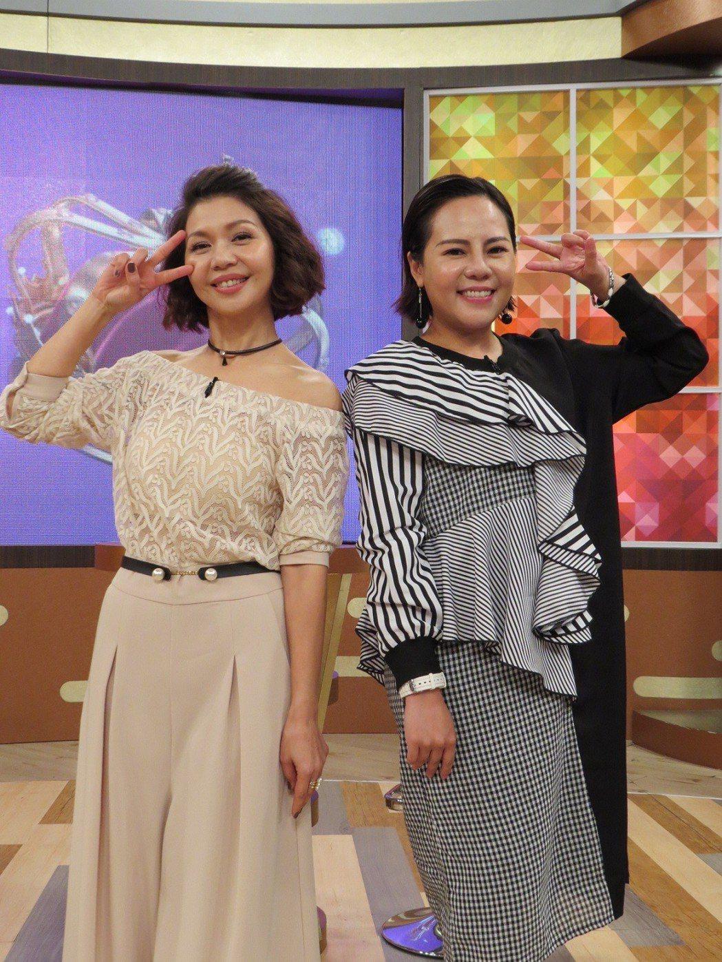 于子育(左)和錦雯上「一袋女王」爆料昔日糗事。圖/衛視中文台提供