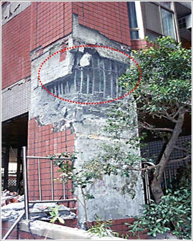 梁柱接頭未綁紮柱箍筋,造成該部位圍束力不足,於921大地震中產生向外迸裂破壞,嚴...