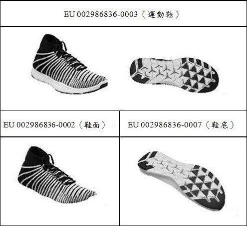 圖5 Nike的鞋類產品與其零組件之註冊設計保護