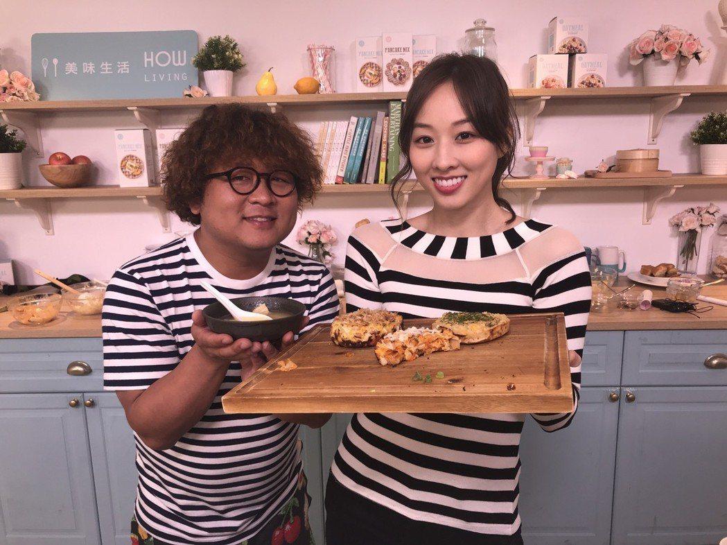 納豆(左)上夏語心主持的直播節目。圖/美味生活提供