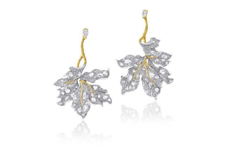 CINDY CHAO The Art Jewel楓葉耳環,18K白金及黃金鑲嵌1...