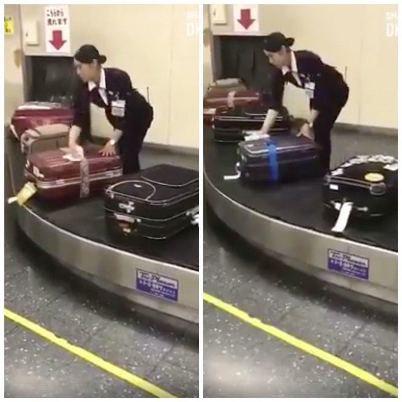 日本地勤人員站在運輸帶上一一擦拭每一個行李箱。圖/截自臉書專頁《Viral Mu...