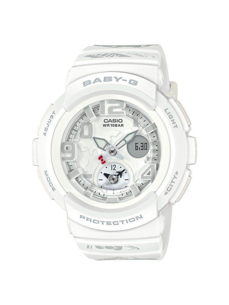 Hello Kitty聯名BABY-G特別限量系列白色款,5,500元。圖/卡西...