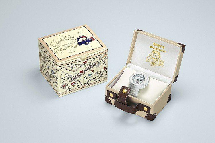 Hello Kitty聯名BABY-G特別限量系列富行李箱造型包裝盒,5,500...