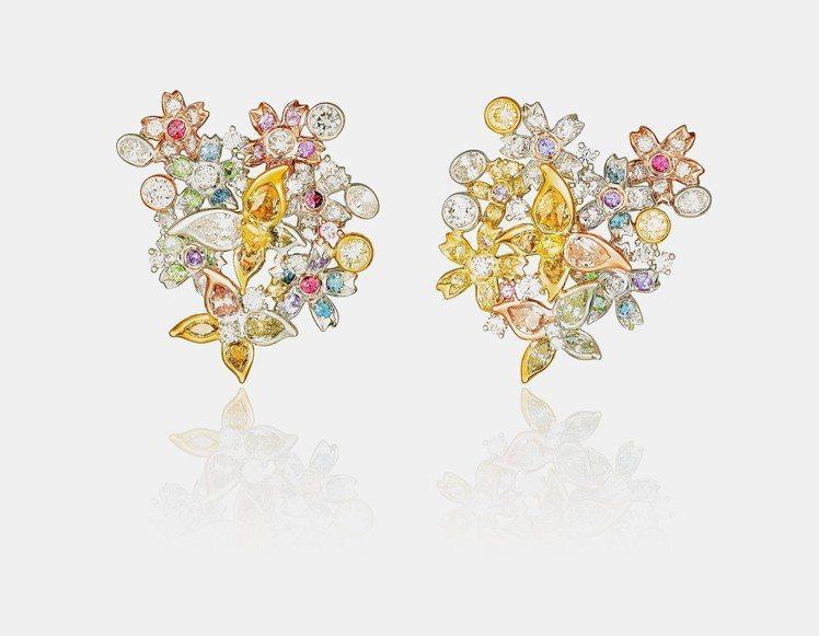 ANNA HU春之櫻耳環,18K白金、黃金、玫瑰金鑲嵌白鑽、彩鑽、尖晶石,以及彩...