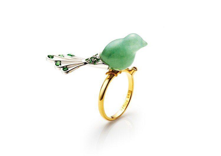翎雀戒指,K金鑲嵌翡翠、沙佛來石、鑽石,價格店洽。圖/林曉同珠寶