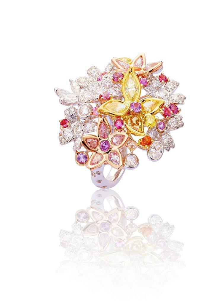 ANNA HU春之櫻戒指,18K 白金、黃金、玫瑰金鑲嵌白鑽、彩鑽、粉紅剛玉,約...