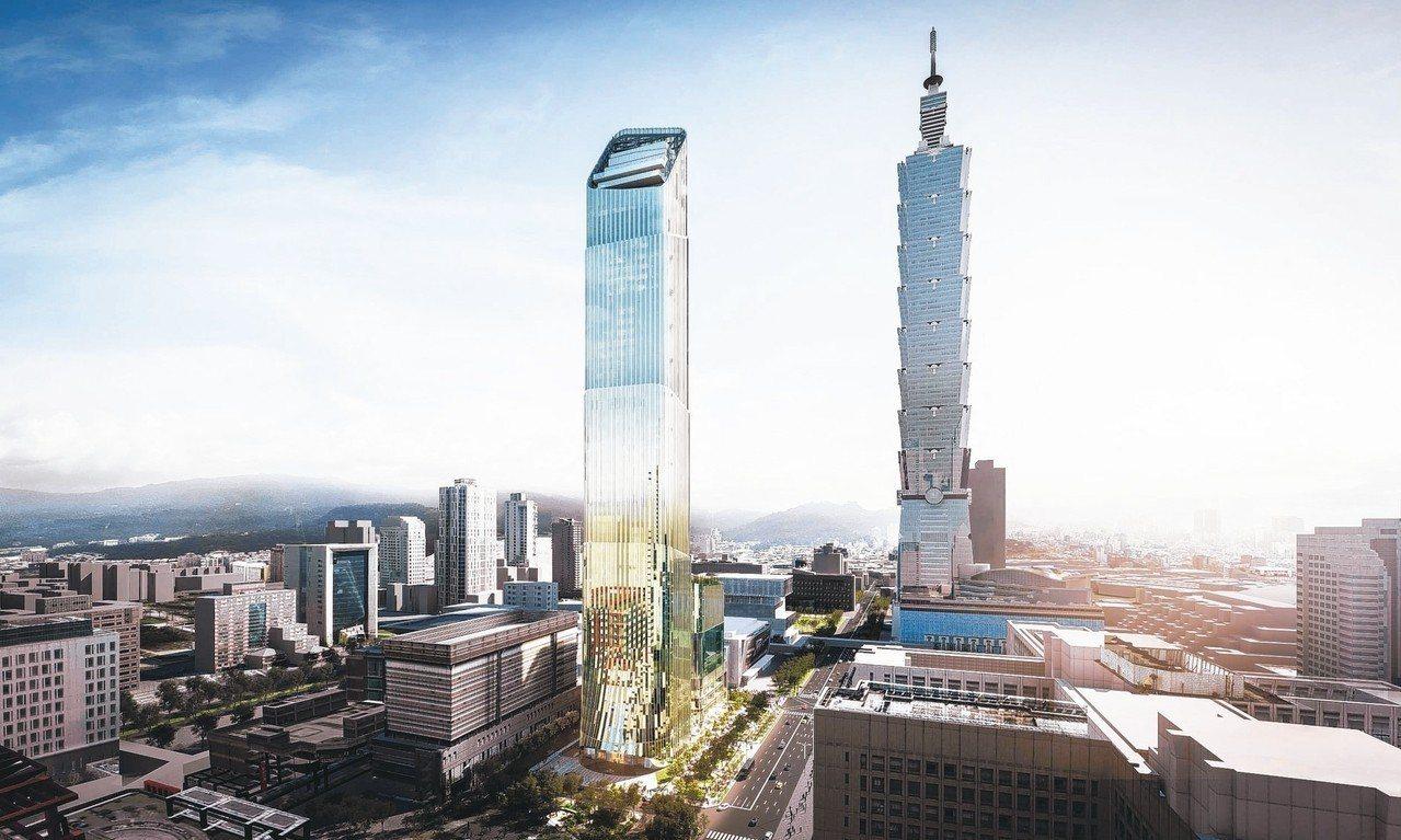 Taipei Sky Tower摩天大樓外觀以台灣綠竹筍,並融合希臘石柱為靈感主...