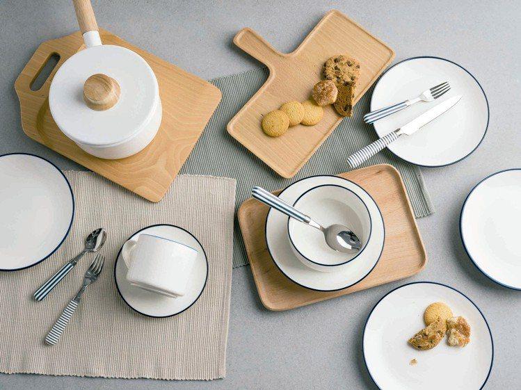 HOLA琺瑯系列鍋具及LaVie陶瓷餐具系列,線條圓潤。圖/HOLA提供