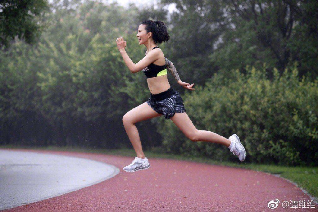 譚維維參加馬拉松。取自微博