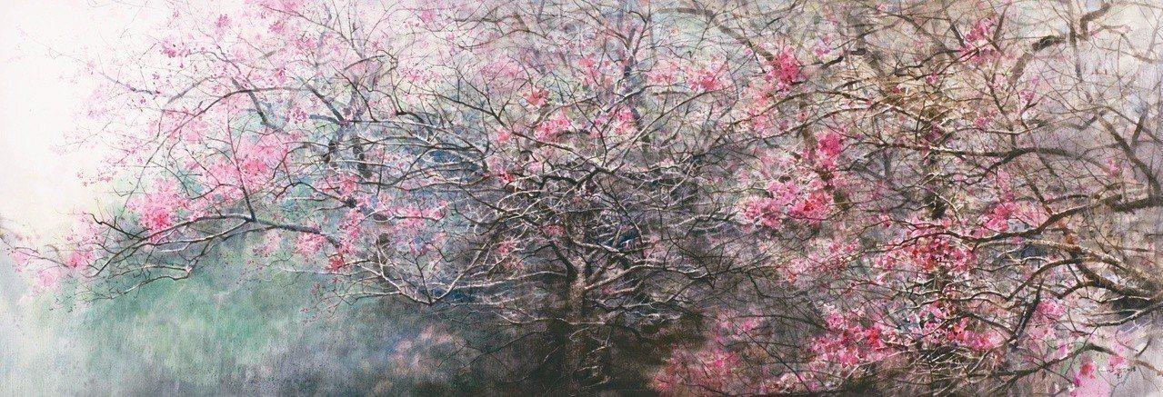 陳俊華水彩作品〈櫻花林〉