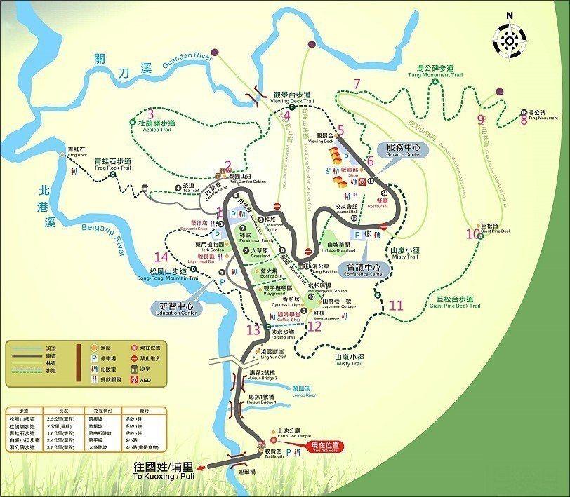 惠蓀林場製作的導覽圖,數字是由布魯標示上去的。下篇由數字8開始前進。