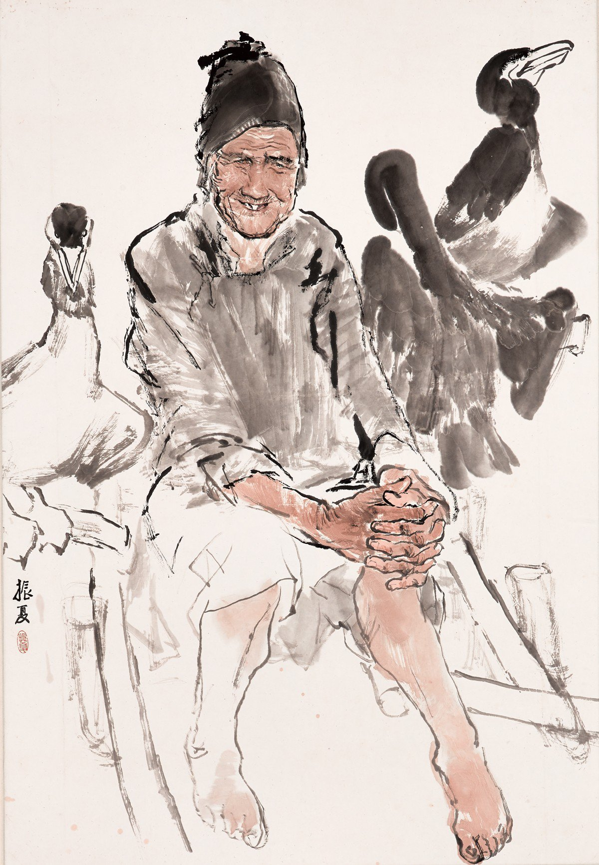 劉振夏 漁婆 1980 96x66cm 80年代轟動畫壇的劉振夏力作