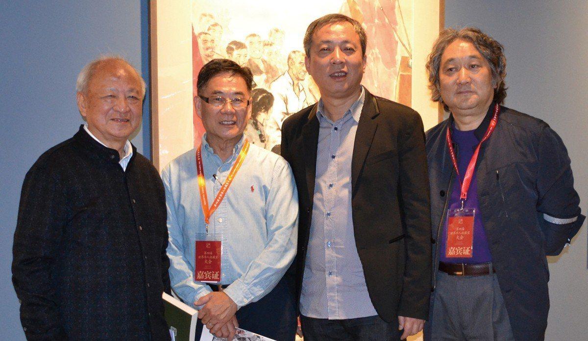 2014年10月,【寂寞修正果】在上海龍美術館舉行。左起劉振夏、鄧仕勳、劉益謙、...