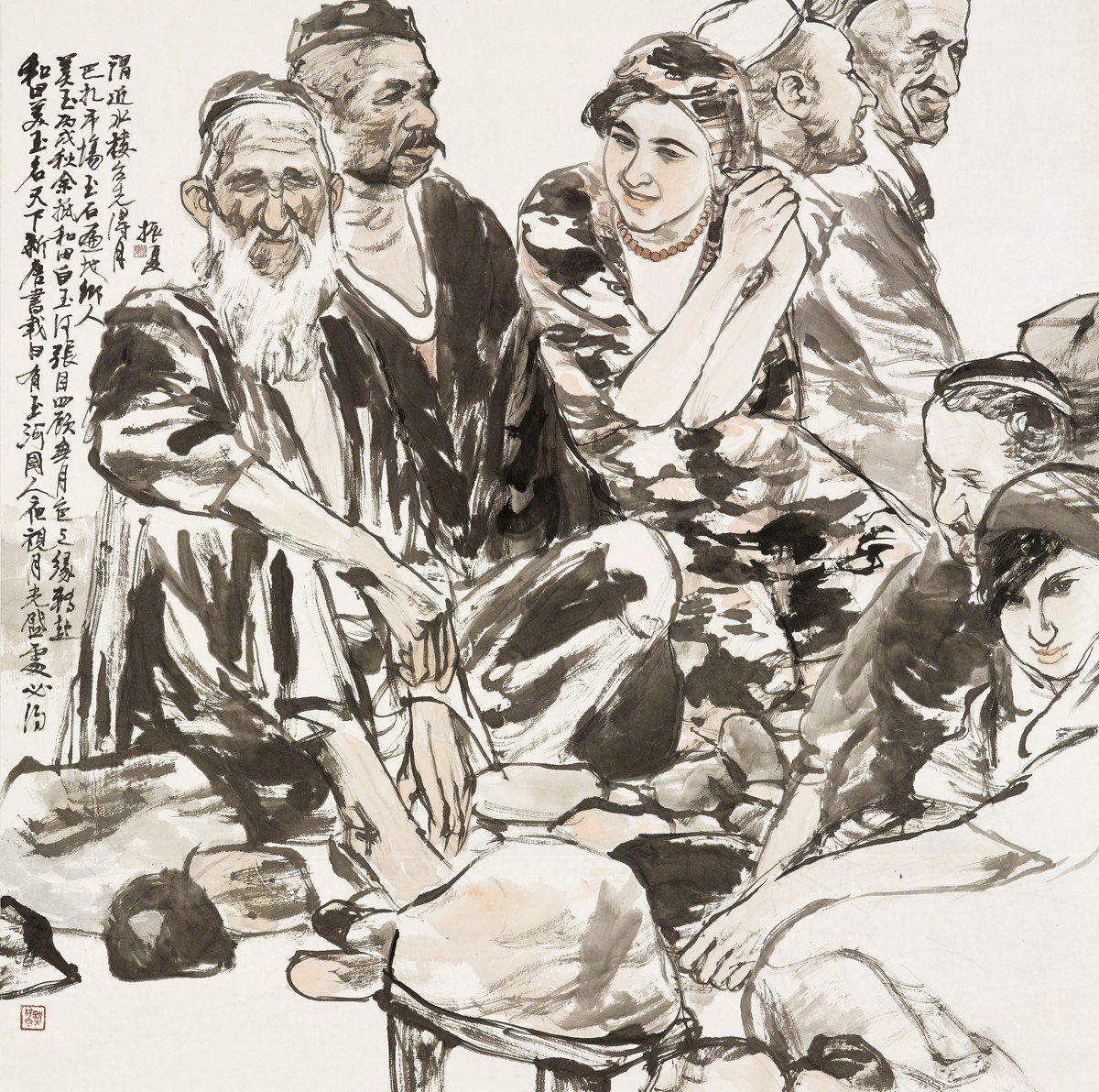 劉振夏 和田大巴扎 2006 120x120cm