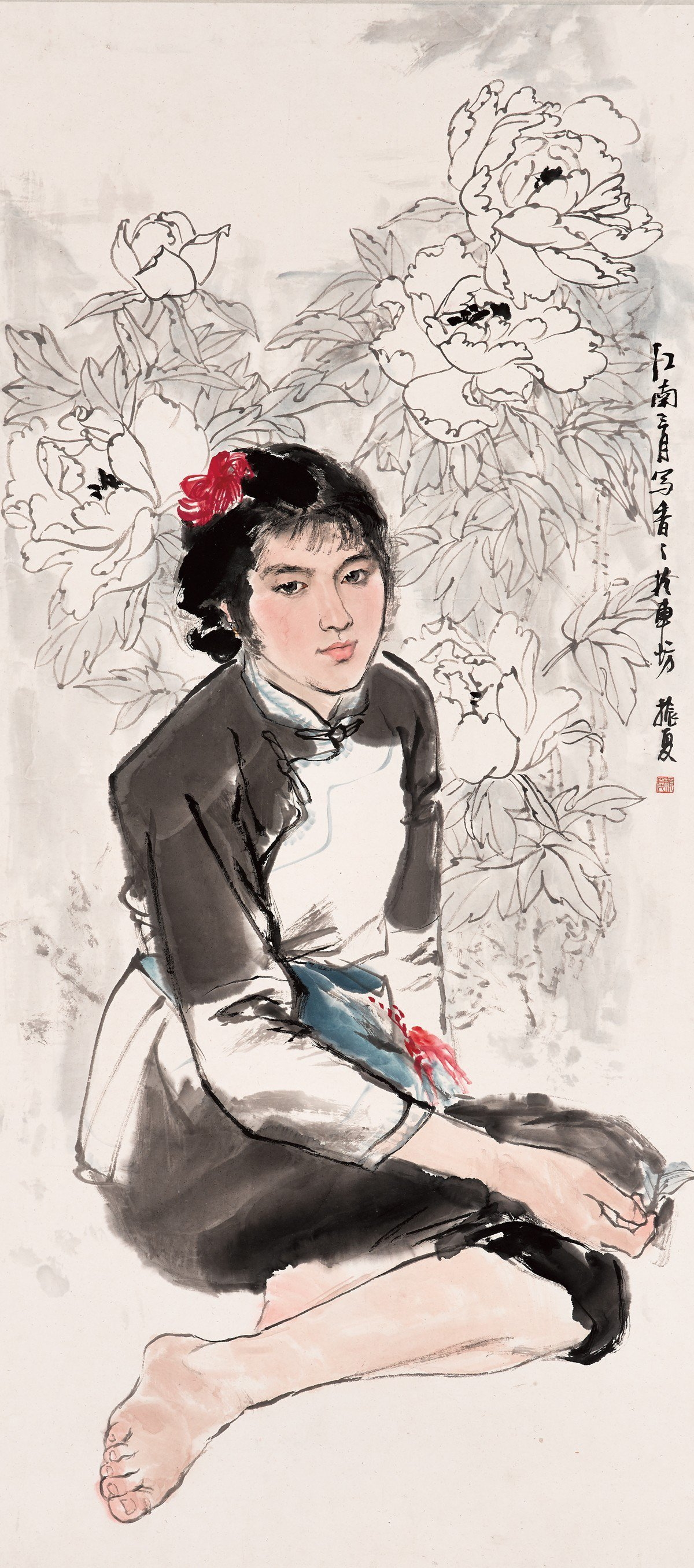 劉振夏 牡丹姑娘 1980 131.4x59.3cm