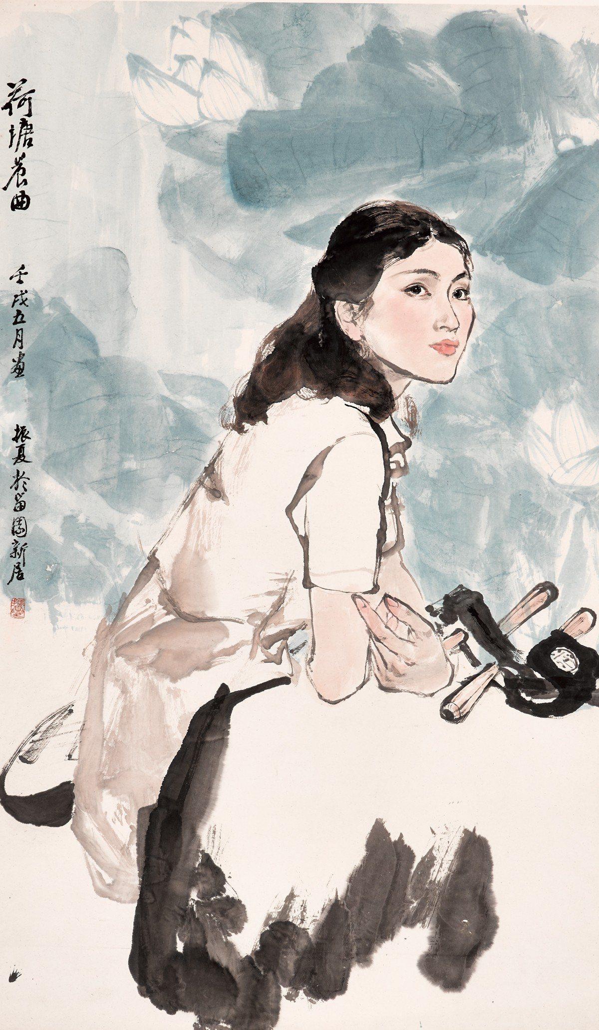 劉振夏 荷塘晨曲 1982 117x69cm 劉振夏為初戀情人所作的肖像作品