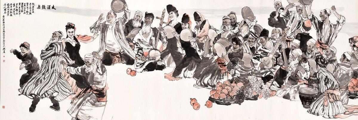 劉振夏 大漠鼓樂 2012 205x610cm