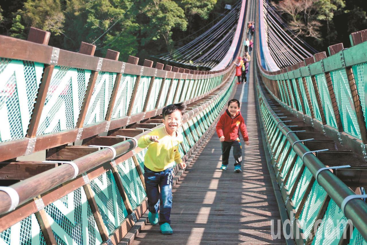 新溪口吊橋啟用時,不少家長帶孩子來體驗。記者許政榆/攝影