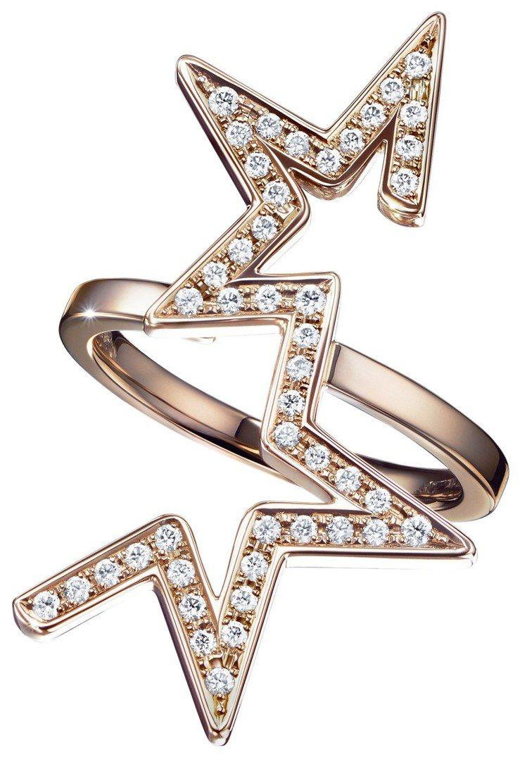 TASAKI abstract star 鑽石櫻花金戒指,16萬2,000元。圖...