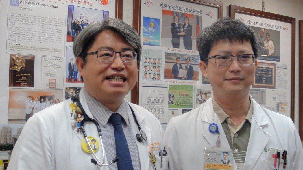 高雄長庚醫院郭和昌(左)及郭光哲(右)提醒家長,目前是川崎症好發季節,國內也出現...