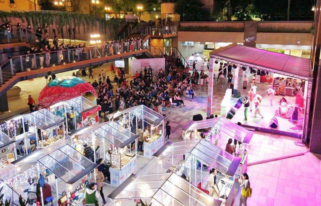 台北捷運公司在雙連站爵士廣場舉辦「心中山生活節」,邀請人氣樂團及文創商家與民眾同...