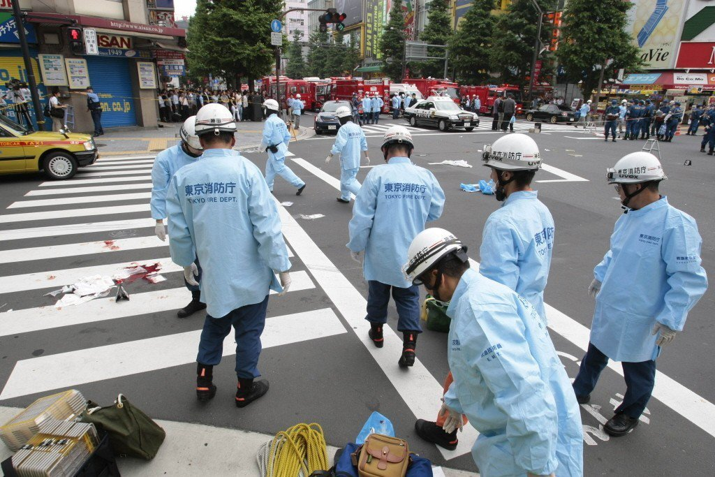 發生於2008年的日本秋葉原隨機殺人事件現場。 圖/美聯社