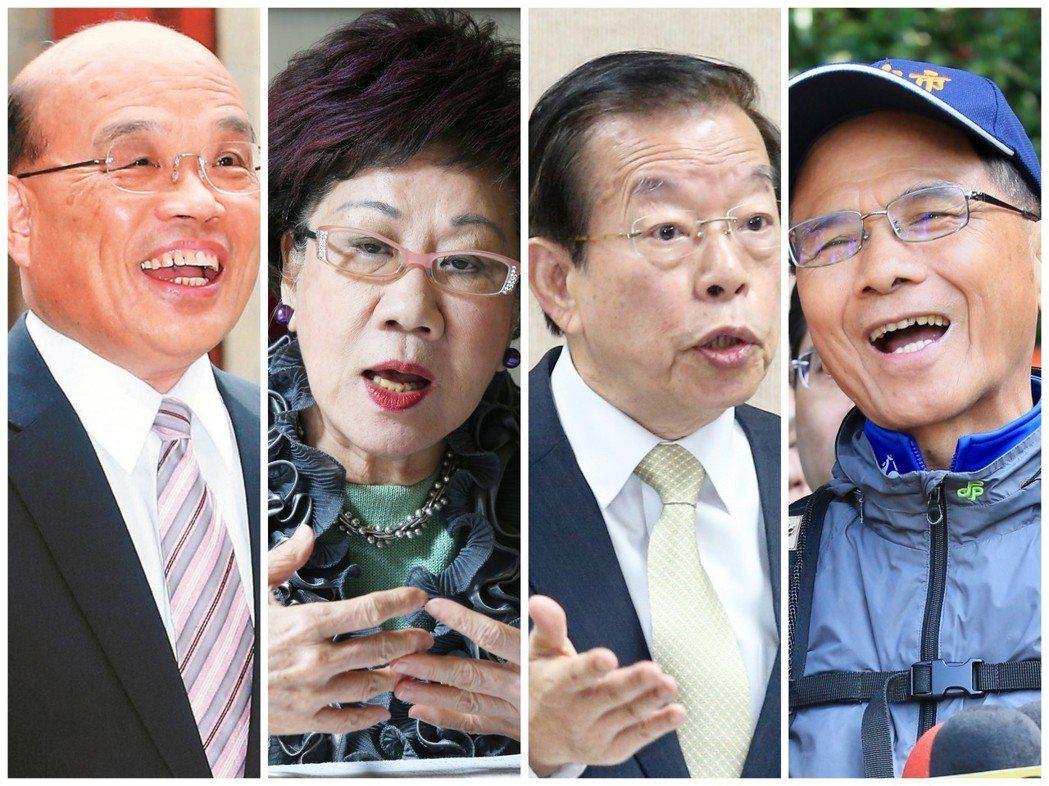 民進黨內四大天王由左至右:蘇貞昌、呂秀蓮、謝長廷、游錫堃。 圖/聯合報系資料照片