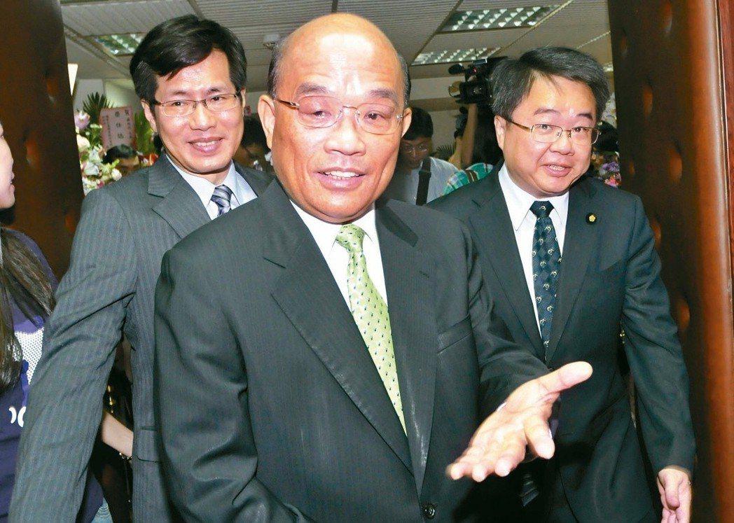 蘇貞昌(中)是四天王中選過最多種選舉的,但勝率也最低。 圖/聯合報系資料照片