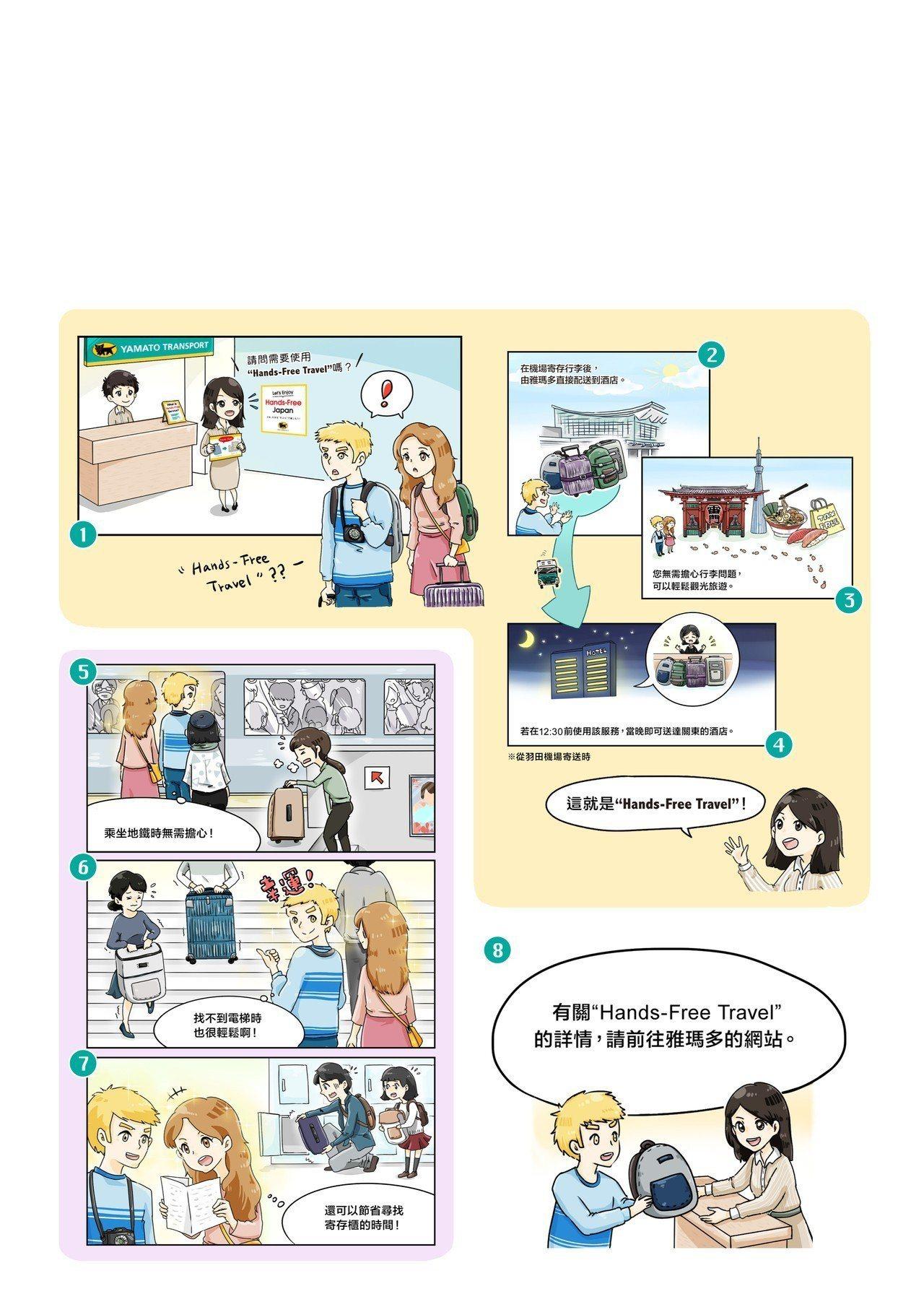 日本黑貓宅急便「Hand-Free Travel」說明漫畫。圖/日本雅瑪多運輸提...