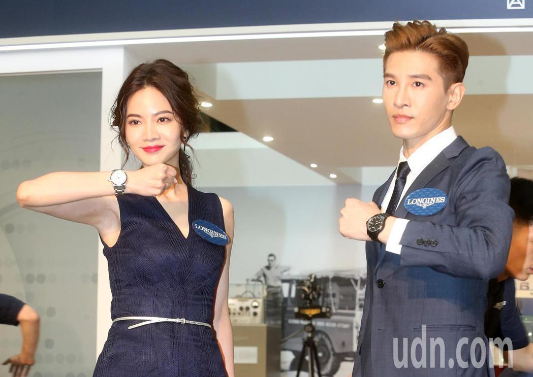 藝人曾之喬(左)、張立昂(右)今天出席浪琴表全新征服者系列V.H.P.腕錶上市暨...