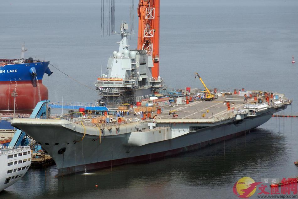 大陸首艘自製航母照片,顯示舾裝工作到尾聲。 圖/取自香港文匯報