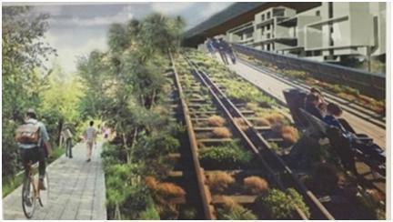 台中市府提出「綠空鐵道軸線計畫」,號稱是全國首座空中鐵道花園。 圖/台中文史復興...
